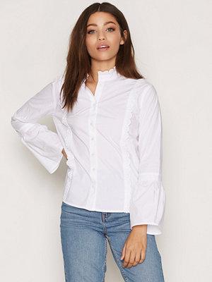 Topshop Poplin Ruffle Frill Shirt White