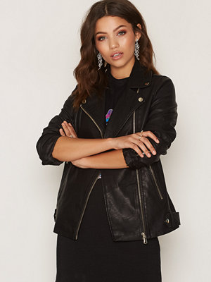 Miss Selfridge Oversized PU Biker Jacket Black