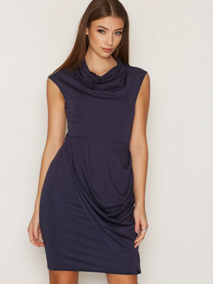 Closet Round Neck Drape Skirt Dress Navy