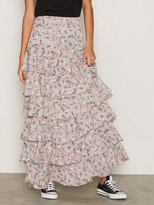 Glamorous Floral Maxi Skirt Grey