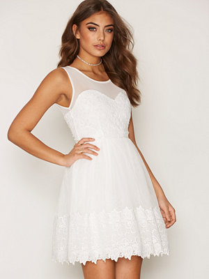 NLY One Lace Mesh Skater Dress Vit