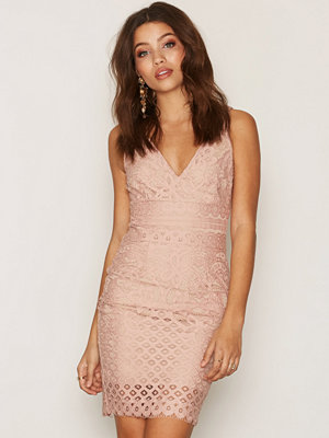 New Look Lace Contrast Dress Pink