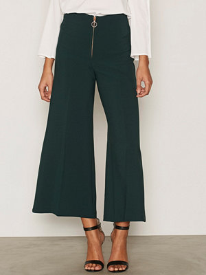 Topshop byxor Zip Front Crop Wide Leg Trousers Dark Green