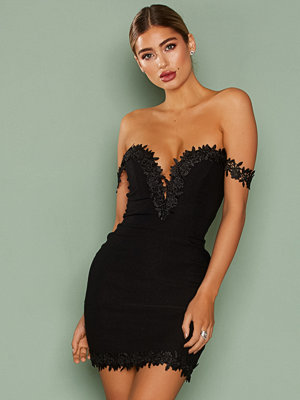 Rare London Crochet Trim Bardot Dress Black