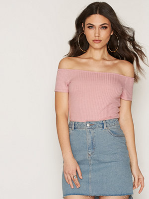 NLY Trend Wide Rib Off Shoulder Rosa