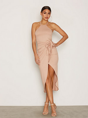 NLY One Tie Waist Rib Dress Beige