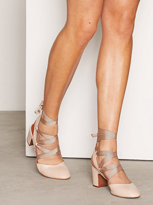 Topshop JOSTLE Mid Tie Block Heeled Ballet Pumps Light Pink
