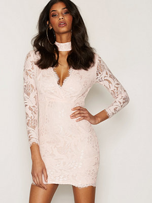 Ax Paris Lace Choker Bodycon Dress Pink