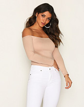 NLY One Off Shoulder Rib Body Beige