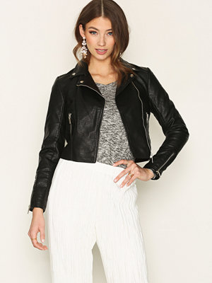 New Look Cropped PU Biker Jacket Black