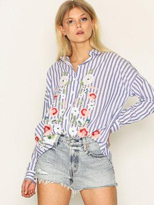 Miss Selfridge Embroidered Stripe Split Shirt Multi