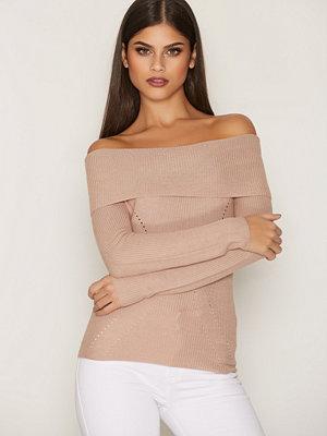 NLY Trend Off Shoulder Knit Ljus Rosa