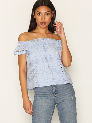 Topshop Lace Bardot T-Shirt Light Blue