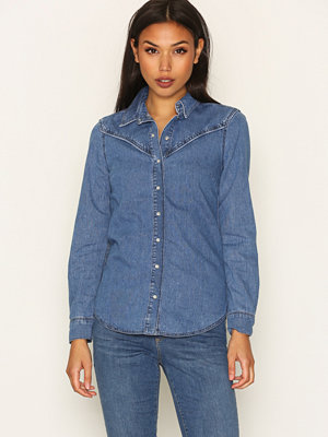 Topshop MOTO Fitted Western Shirt Mid Blue