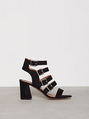 Topshop Multi Buckle Heels Black