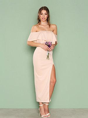 Rare London Off Shoulder Ruffle Maxi Dress Blush