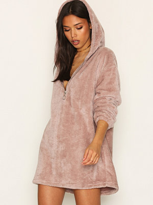 NLY Trend Cozy Zip Hoodie Dress Dusty Rose