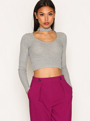 Topshop Long Sleeve Choker Top