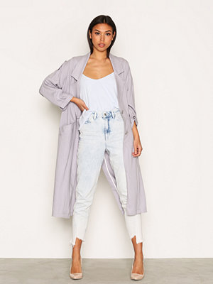 Topshop Washed '80s Duster Coat Grey