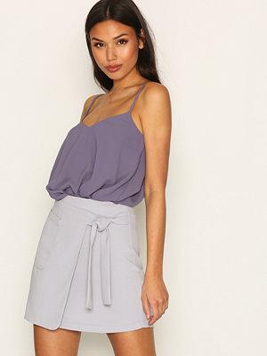 Kjolar - Topshop Utility Wrap Tie Mini Skirt Light Blue