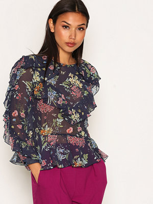 Topshop Floral Ruffle Blouse Navy Blue
