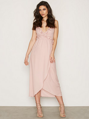 NLY Trend Frill Wrap Strap Long Dress Ljus Rosa