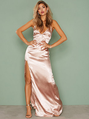 NLY Eve Satin Slit Gown Champagne