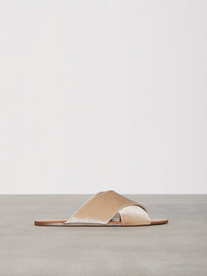 Tofflor - NLY Shoes Velvet Sandal Beige
