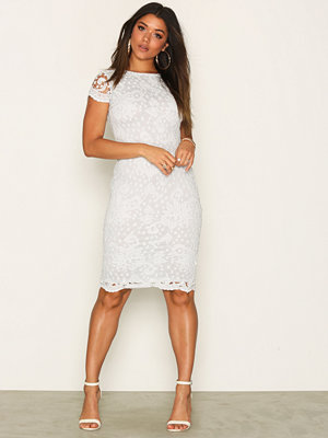 Ax Paris Short Sleeve Midi Lace Dress Blue