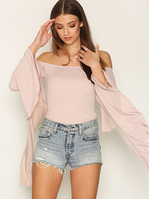 NLY Trend Long Frill Sleeve Top Dusty Rose