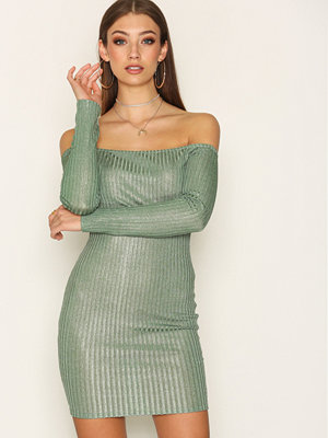 NLY Trend Off Shoulder Luxury Dress Khaki