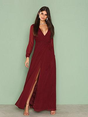 NLY Eve Long Sleeve Wrap Gown Burgundy