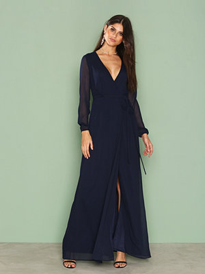NLY Eve Long Sleeve Wrap Gown Navy