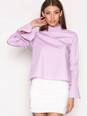 Skjortor - Topshop Ruched Sleeve High Neck Poplin Top