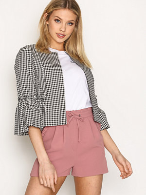 Topshop Crop Frill Raw Jacket Black/White