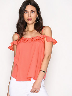 NLY Trend Thin Strap Frill Cami Korall