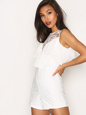 Missguided Playsuit with Frill Detailing White