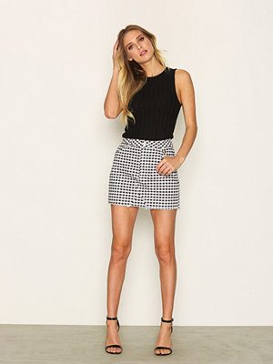 Topshop MOTO Gingham Mini Skirt Black/White