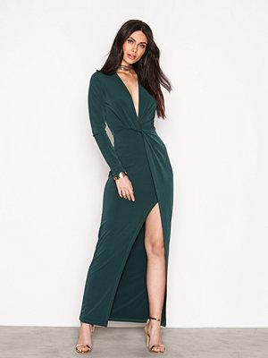NLY Trend Twisted Drop Plunge Maxi Dress Mörk Grön