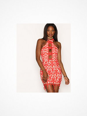 Love Triangle Cut Out Lace Mini Dress Red