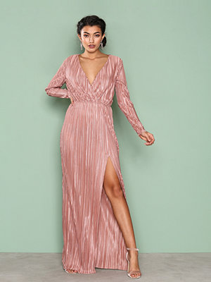 NLY Eve Pleated Long Sleeve Gown Rose