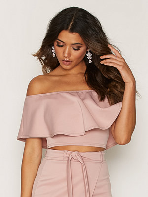 NLY One Frill Crop Top Ljus Rosa