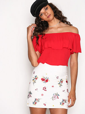 New Look Floral Embroidered Twill Skirt White