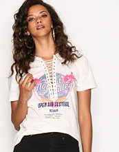Toppar - New Look Palm Tree Rock Print Lace Up T-Shirt