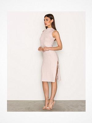 Topshop Ribbed Side Split Midi Dress Pink