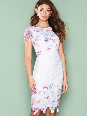 Ax Paris Short Sleeve Flower Lace Dress Blue