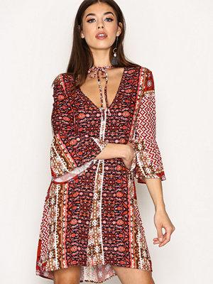 Glamorous Aztec Print Dress Red