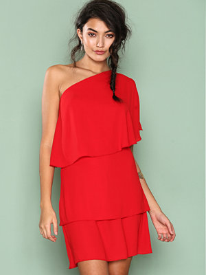NLY One One Shoulder Frill Dress Röd