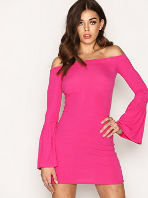 New Look Ribbed Bell Sleeve Bardot Neck Bodycon Dress Bright Pink