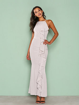 Missguided Frill 90's Neck Maxi Dress Grey